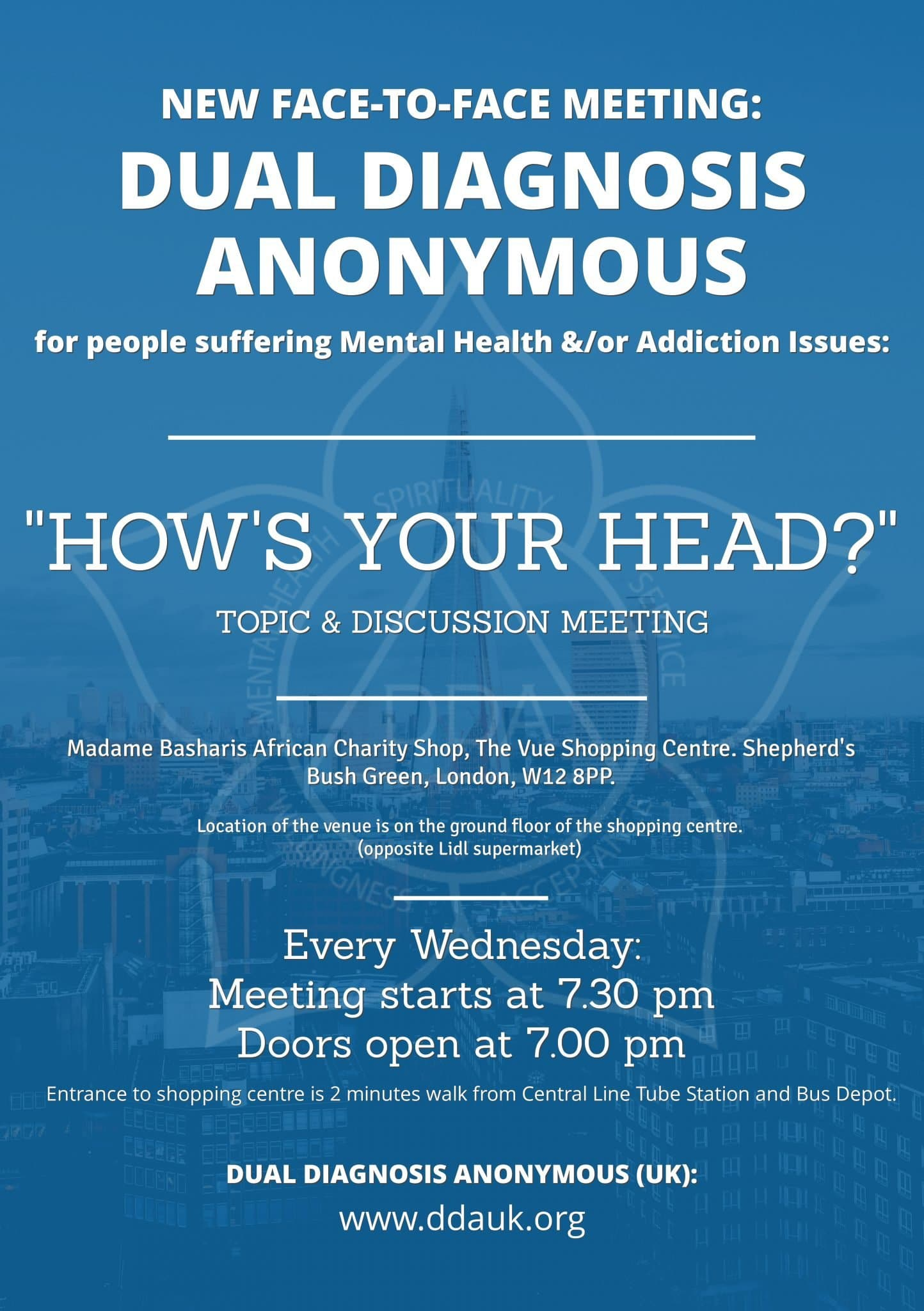How's Your Head? DDA Face-to-Face Meeting (London)
