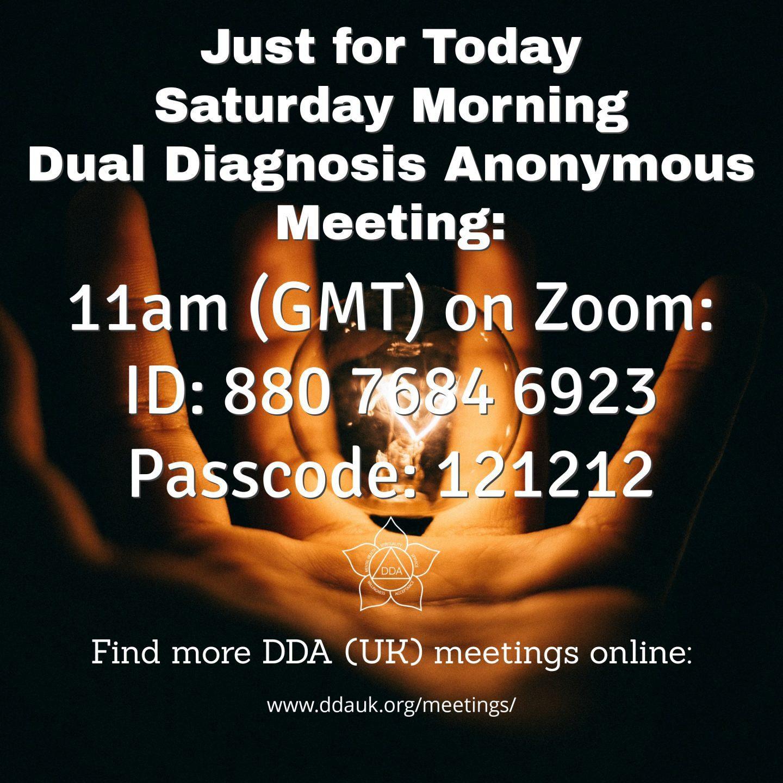 Saturday Morning Online DDA Meeting Flyer
