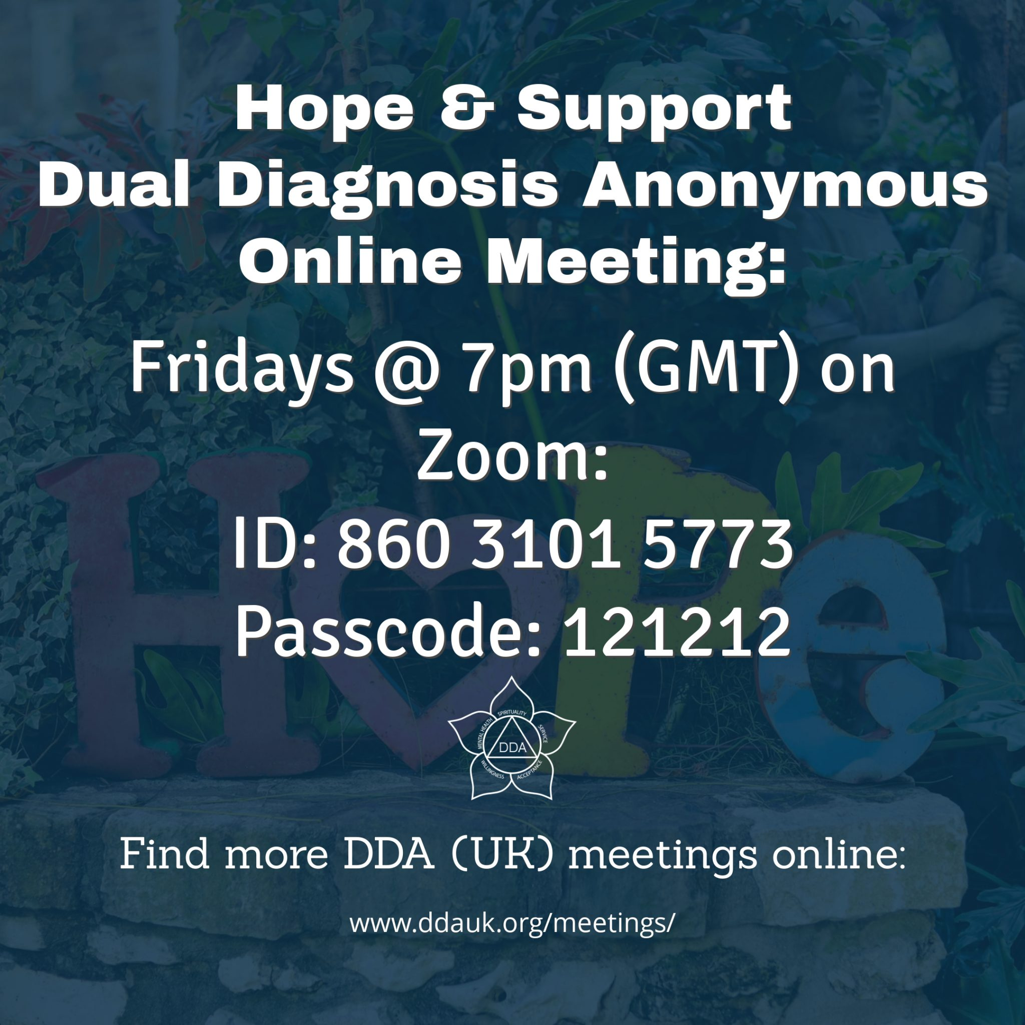 Friday Hope & Support DDA Zoom Meeting