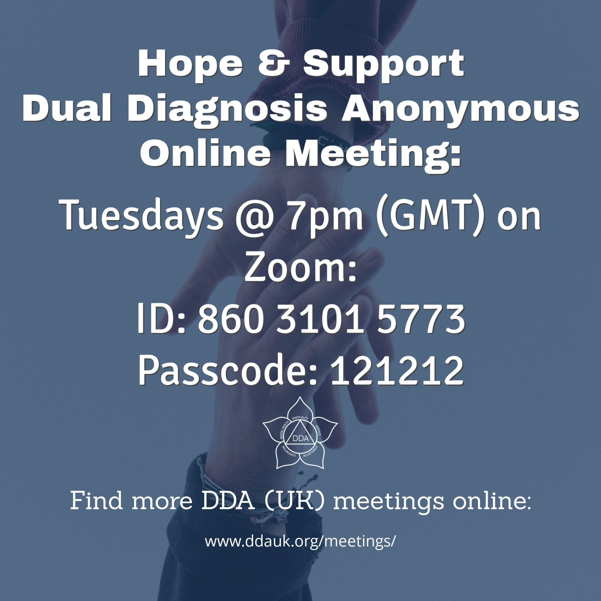 Tuesday Hope & Support DDA Zoom Meeting